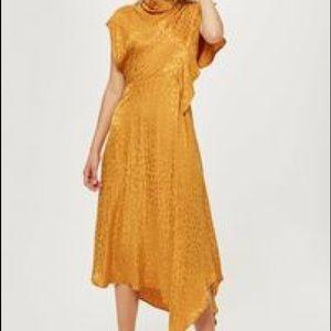 Top shop cowl midi dress with animal jacquard